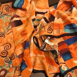 Klimt orange silk scarf